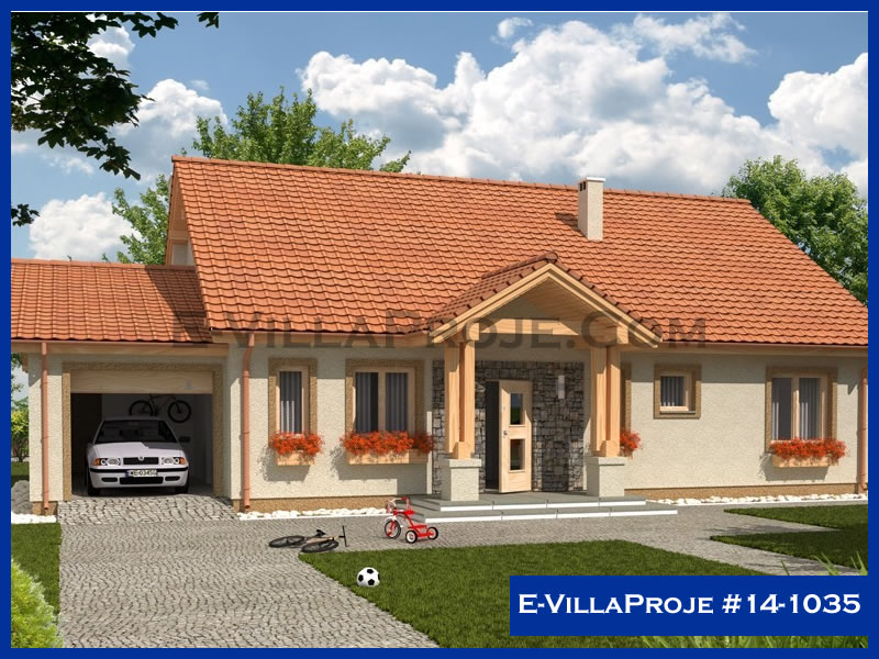 E-VillaProje #14-1035, 1 katlı, 3 yatak odalı, 1 garajlı, 130 m2