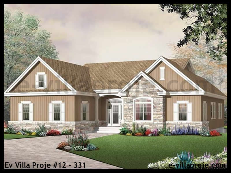 Ev Villa Proje #12 – 331, 1 katlı, 3 yatak odalı, 2 garajlı, 163 m2