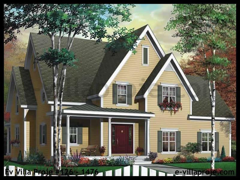 Ev Villa Proje #126 – 1476, 2 katlı, 3 yatak odalı, 2 garajlı, 183 m2