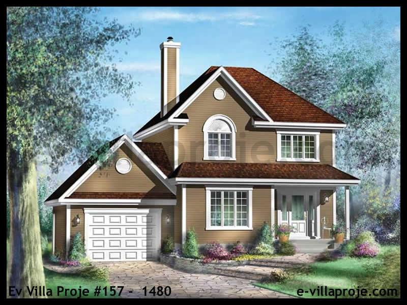 Ev Villa Proje #157 –  1480, 2 katlı, 3 yatak odalı, 1 garajlı, 128 m2