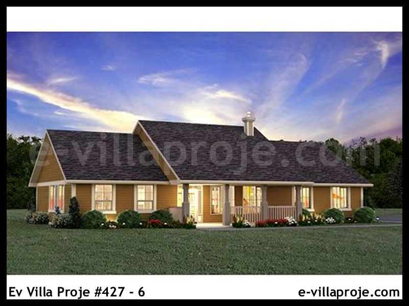 Ev Villa Proje #427 – 6, 1 katlı, 3 yatak odalı, 2 garajlı, 174 m2