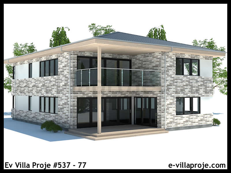 Ev Villa Proje #537 – 77, 2 katlı, 4 yatak odalı, 2 garajlı, 212 m2