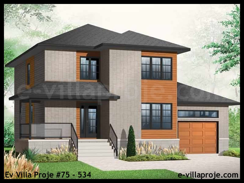Ev Villa Proje #75 – 534, 2 katlı, 3 yatak odalı, 1 garajlı, 160 m2