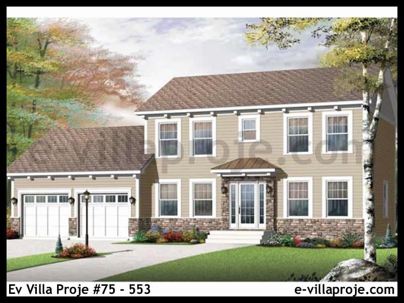 Ev Villa Proje #75 – 553, 2 katlı, 4 yatak odalı, 2 garajlı, 171 m2