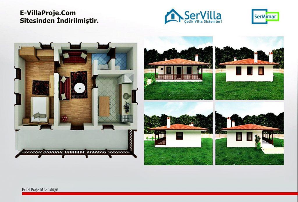 Muğla Menteşe Belediyesi Köy Evleri Projesi (Plan ve 3D Görüntüler)